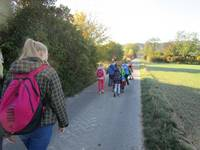 Kinder wandern zum Wald.