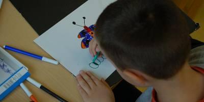 Ein Junge malt einen Schmetterling auf ein weißes Blatt.